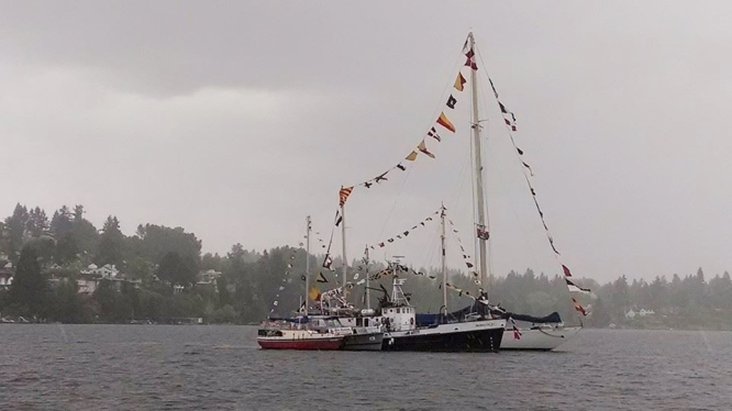 Sea Scout Ships Rafted up in Lake Washington after Opening Day Boat Parade...from NW Seaport